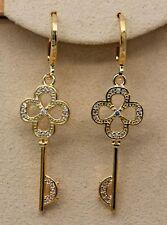 18K Yellow Gold Filled - 1.7'' Hollow Flower Key Topaz Zircon Party Earrings