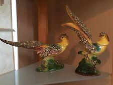 Vintage Art Deco Style Ceramic Pheasant Figurines Set of 2 - Unique Decor 1960's