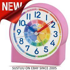 Seiko QHE153P Childrens Time Teaching Alarm Clock│Kids Bedroom Clock - Pink