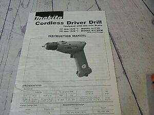 Makita 6172D Cordless Driver Drill Instruction Manual Only