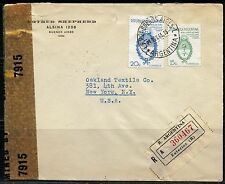 ARGENTINA BUENOS AIRES  WW II 1944   REG- CENSORED COVER TO NY  UNITED STATES