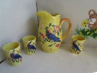 Amazing VTG Yellow Pitcher/Glasses Set/4  Majolica Style Pottery Birds Japan