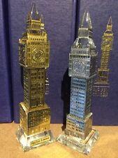 2 XLondon Westminster Big Ben Metallic Crystal With Lights British Souvenir Gift