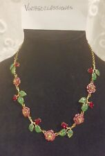 Betsey Johnson Garden of Excess Necklace Sparkling Crystal Roses; Leaves NWTs !