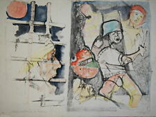 Lithography Lithographie Litografia Acquarellata a Mano D'ANDREA Lorenzo