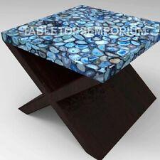 Blue Agate Side Coffee Bedroom Table Top Handmade Stone Design Patio Decor E1265