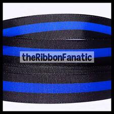 "3 yds 7/8"" Thin Blue Line Police Lives Matter Black Blue Grosgrain Ribbon"