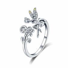 925 Sterlingsilber Offen Ring Verstellbare Größe - Fairy Daisy Blume Damen Quarz