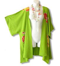 Green Hibiscus Plus Size Cardigan Duster Jacket Kimono Cover up -2X, 3X, 4X & 5X