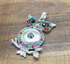NEW OWL Mix Crystal Alloy Pendant for Fit Noosa Necklace Snap Chunk Button #R137