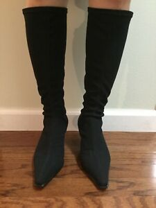 Donald J Pliner Luna Stretch Kitten Heel Boots Black 6M
