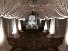 WHITE Sheer Wedding Backdrop  draping Voile Panel 10 ft x 40 ft