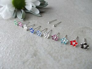 3x Flower Crystal 925 Sterling Silver Nose Studs, Choose colour,22G,Bend Yrself