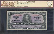 1937 $10.00 BC-24b BCS VF-35 ** BEAUTY King George VI Bank of Canada Ten Dollars