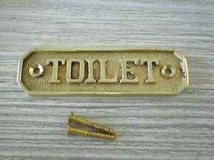 """GOLD TOILET SIGN 3.5"""" X 1"""" RESTROOM METAL PLAQUE DOOR BAR RESTAURANT SMALL"""