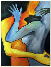 Kissing in an Embrace - Hand Painted Modern Abstract Figurative Oil Painting Art