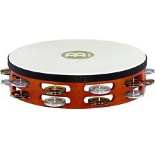 Meinl Goat-Skin Wood Tambourine Two Rows Dual Alloy Jingles African Brown