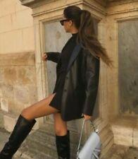 Zara Faux Leather Black Blazer Jacket Large  BNWT Bloggers Fav New