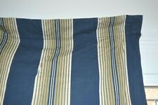 """Pottery Barn Lined Curtain Drapes (Pair) 2 80"""" Linen Stripe Blue Ivory"""