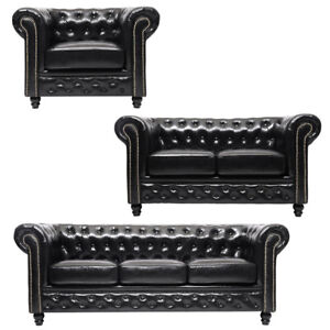 Distressed Tan Shiny Black Antique Leather Chesterfield Sofa 1 2 3 Seater Sofa