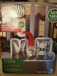 """""""NOEL"""" 5.5 ft Airblown Christmas Inflatable with LED light Shiny Metallic Fabric"""