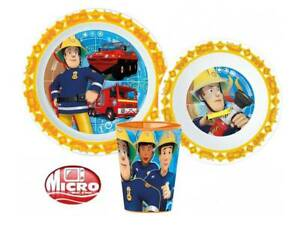 FIREMAN SAM KIDS TODDLERS 3 PC DINNER BREAKFAST SET PLATE BOWL CUP