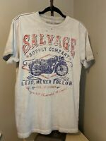 Salvage Supply Company Mens Sz M Graphic T Shirt Gray Motorcycle Vintage Look