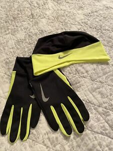 Nike Dri Fit Jogging Gloves & Hat, Neon Yellow and Black, Men's Large