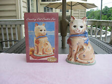 """Country Cat Ceramic Cookie Jar 12 1/4"""" Tall~ By Gibson`New In The Box!"""