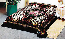 Solaron Classic Leopard Flower Roses Korean Mink King Size Blanket - Black