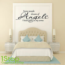 SOME PEOPLE DREAM OF ANGELS WALL STICKER QUOTE - BEDROOM WALL ART DECAL X276