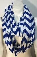 Infinity Scarf Royal Blue White Striped Soft Knit