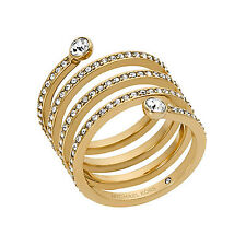 MICHAEL KORS Pave Crystal Twist Spiral Coil Ring Gold Tone Size 7 MKJ47227107