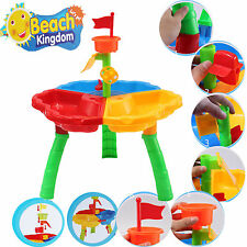 KIDS 3 COMPARTMENT SAND WATER BEACH ROUND TABLE CHILDREN ACTIVITY PLAY TOY SET