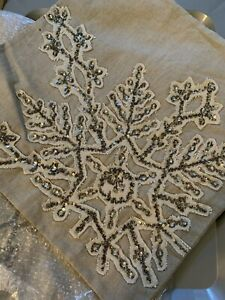 """Pottery Barn ~SPARKLE SNOWFLAKE~ 18"""" PILLOW Cover CHRISTMAS Sequence Beaded"""