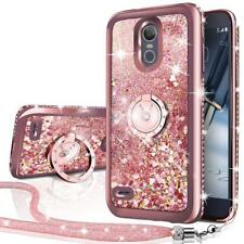 LG Stylo 3 Case,Moving Liquid Holographic Diamond Sparkle Glitter Case With Ring