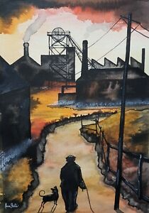 Northern Art Painting By Claire Shotter. Industrial Landscape. Man And His Dog