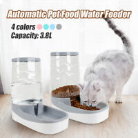 3.8L Large Automatic Feeder Pet Food Drink Dispenser Dog Cat Water Bowl Dish