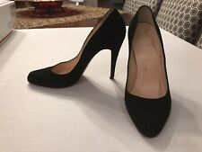 BARELY USED Christian Louboutin Black Suede RON RON 100 Shoes Heels Pumps 38.5