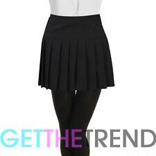 Pleated School Skirt Womens Girls Ladies Black Back Zip Skool Uniform 6-18 UK