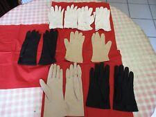 lot de 6 paires de gants anciens pour femme taille 5 à 6,5  bon état tissu fin