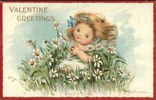 J. Johnson Valentine - Little Girl in Flower Field c1910 Postcard