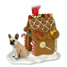 French Bulldog Cream Dog Ginger Bread House Christmas ORNAMENT