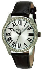 Kenneth Cole 10029552 New York Silver Dial Leather Strap Women's Watch