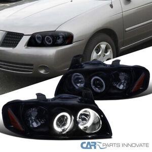 For Nissan 04-06 Sentra Glossy Black Smoke Dual Halo Projector Headlights Pair