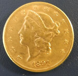 1891-S double eagle $20 gold coin