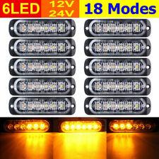 10 un. Coche Camión Lámpara Ámbar 6-LED Emergencia Luz Estroboscópica Flash Dc 12V-24V