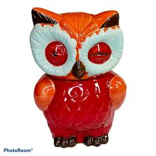 """Shawnee-Style Winking Owl cookie jar Red And Orange 10.5"""" Pottery"""