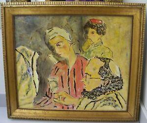 JUDAICA Vintage Acrylic Painting By Lauer Tallis Rabbi Bris Brith Ceremony Rite