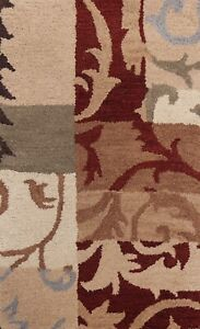 Transitional Patchwork Oriental Area Rug Hand-tufted Wool Home Decor Carpet 2x3
